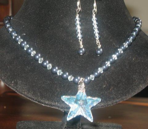 Primary image for Midnite Blue Pearls & Lavender Crystals Necklace & Earrings Handmade