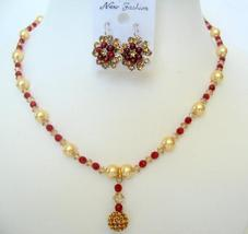 Multi Color Crystals Necklace & Golden Pearls w/ Pendant Jewelry Set - $42.00