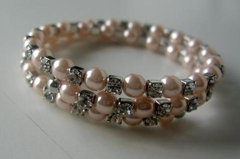 Primary image for Wire Memory Bracelets Peach & Cubic Zirconia Stones