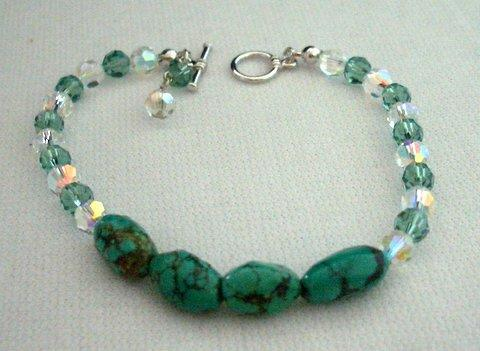 Primary image for Handcrafted Turquoise Green Stone AB Crystals Toggle Clasp Bracelets