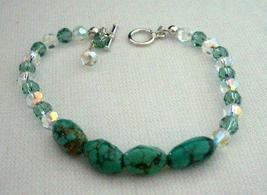 Handcrafted Turquoise Green Stone AB Crystals Toggle Clasp Bracelets - $23.80