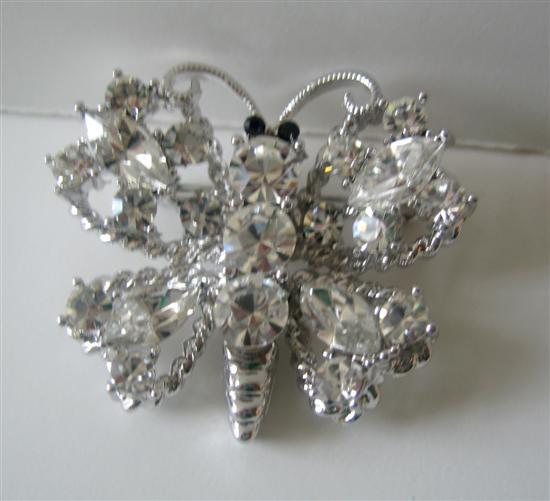 Primary image for Silver Casting Sparkling Clear Crystals Butterfly Brooch Pin