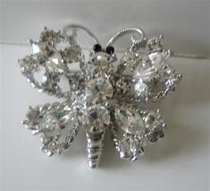 Silver Casting Sparkling Clear Crystals Butterfly Brooch Pin - $19.90