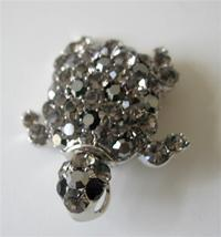 Black Diamond Crystals Turtle Brooch Pin Great for Gifting - $18.58