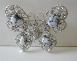 Opal & Clear Crystals Butterfly Brooch Pin - $17.93