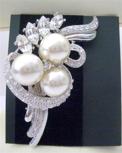 Primary image for Swirling Cultured Pearls Cubic Zircon Brooch Pin