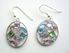 Multi Colored Crystals Hoop Earrings - $14.68