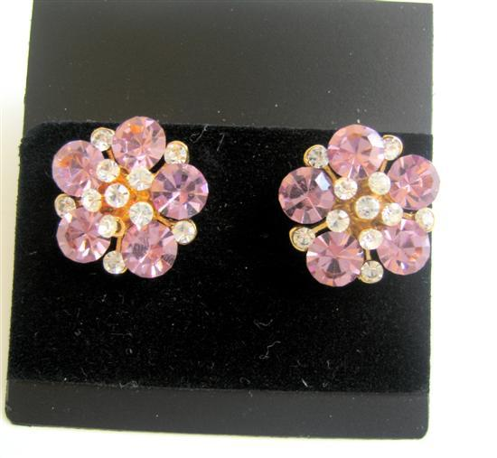 Primary image for Flower Pierced Surgical Post Earrings Clear & Rose Pink Crystals