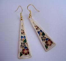 Hand Painted Flowers Dangle Earrings Gold Plated Hand Work Jewelry - $14.68