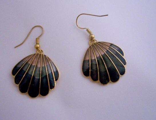 Primary image for Vintage Hand Painted Dangle Earrings Gold Plated Hand Work Jewelry
