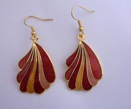 Hand Painted Dangle Earrings Gold Plated Hand Work Jewelry - $14.68