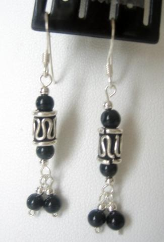 Primary image for Dangling Jet Crystals Sterling Silver Earrings French Hook