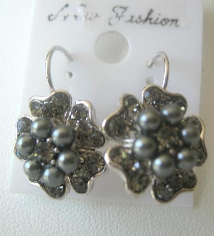 Primary image for FLOWERS PEARL CENTERS Gray Pearls Flower Stud Pierced Earrings