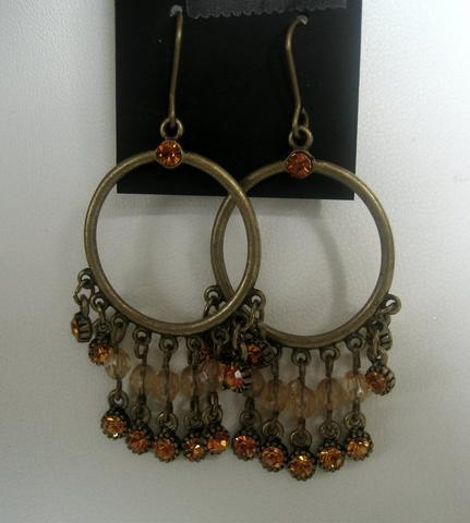 Primary image for Classic Antique Gold Plated Ethnic Hook Earrings w/ Crystals Beads