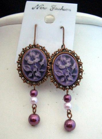 Primary image for Victoria Earrings in Copper Frame & Artform Designer Flower in Purple