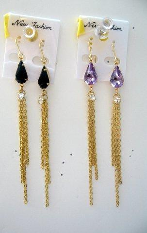 Primary image for Simulated Crystals chain link Dangle Earring in Gold chain