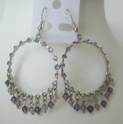 Primary image for Amethyst & Pink Round Chandelier Dangling Crystals w/ Clip-On Earrings
