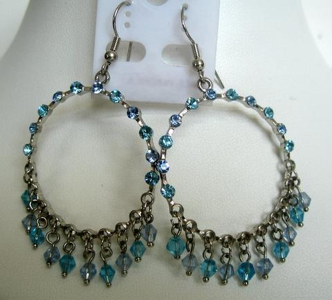 Primary image for Aquamarine Crystals Round Chandelier w/ Dangling & Clip-On Earrings