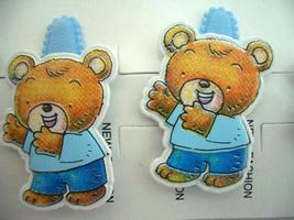 Whimsical Cute Teddy Bear Clips Soft Padded Blue Hair Clip Pair - $4.17