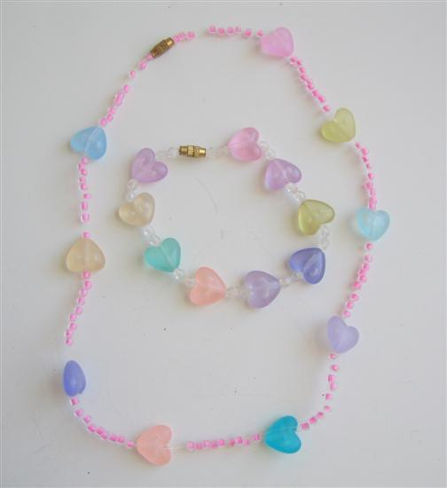 Multicolored In Pink Beads Girls Stretchable Necklace & Bracelet