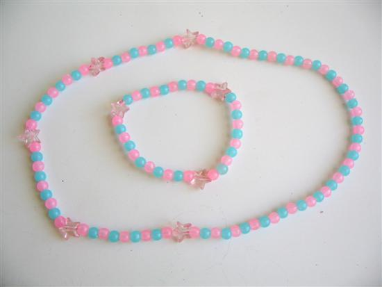 Primary image for Pink Blue Beaded Stretchable Necklace & Bracelet Gift For Girls