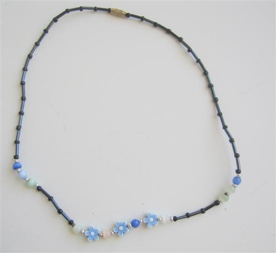 Primary image for Black Pipe Beads Girls Necklace w/ Acrylic Flowers