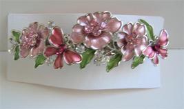 Pink Flower Hair Barrette Hair Barrette Flower Butterfly Barrette Clip - $14.05