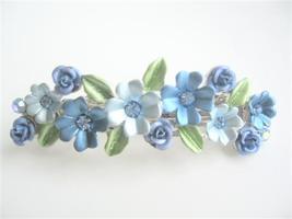 Flower Hair Barrette Blue Enamel Exclusive Decorated Barrette Clip - $11.45