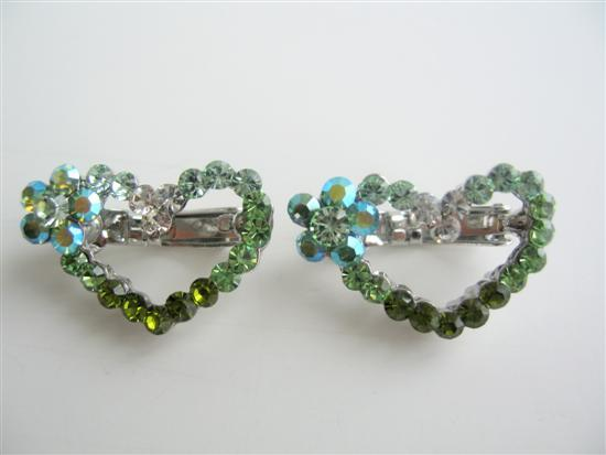Primary image for Heart Hair Barrett Pair Sparkling Green Crystals Hair Pin / Clip