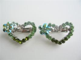 Heart Hair Barrett Pair Sparkling Green Crystal... - $14.03