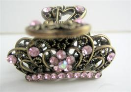 Pink Crystals Hair Claw Clip Antiquie Victorian Traditional Hair Clip - $11.45