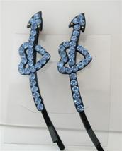 Heart Arrow Hair Barrette Aquamarine Crystal Hair Pin Accessories Pair - $14.03