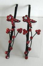 Red Flower Crystal & Stem Pattern Pair Crystal Hair Pin / Clip - $10.78