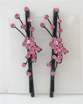 Pink Crystal Flower & Stem Pattern Pair Hair Pi... - $10.78