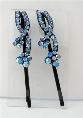 Primary image for Hair Pin Aquamarine Crystal & Stem Pattern Pair Crystal Hair Clip