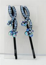 Hair Pin Aquamarine Crystal & Stem Pattern Pair Crystal Hair Clip - $10.78