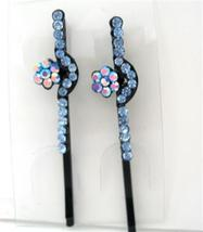 Aquamarine Hair Pin Crystal & Stem Pattern Pair... - $10.78