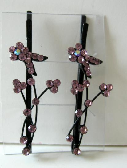 Primary image for Pink Crystal Stem & Flower Pattern Pair Of Hair Accessories Pin / Clip
