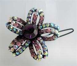 Gorgeous Multi Colored Flower Hair Barrette Crystals Hair Barrette - $14.03