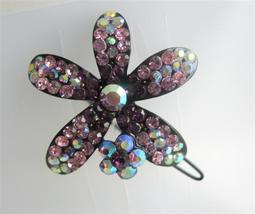Sparkling Amethyst Encrusted Crystals Flower Barrette Hair Clip - $14.05