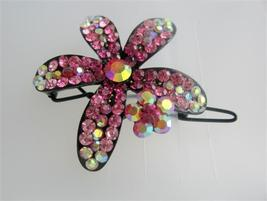 Beautiful Hair Barrette Pink Flower Crystals Floral Hair Barrette - $14.05