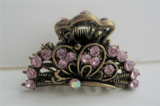 Primary image for Sexy Beautiful Pink Crystals Hair Claw Clip Antiquie Gold Hair Clip