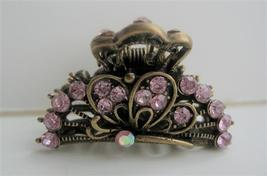Sexy Beautiful Pink Crystals Hair Claw Clip Antiquie Gold Hair Clip - $11.45