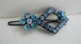 Aquamarine Sparkling Crystals Hair Barrette Pair - $13.38