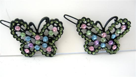 Primary image for Multi Colred Butterfly Hair Barrette Rhinestones Beautiful Pair Clip