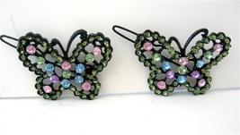 Multi Colred Butterfly Hair Barrette Rhinestones Beautiful Pair Clip - $14.03