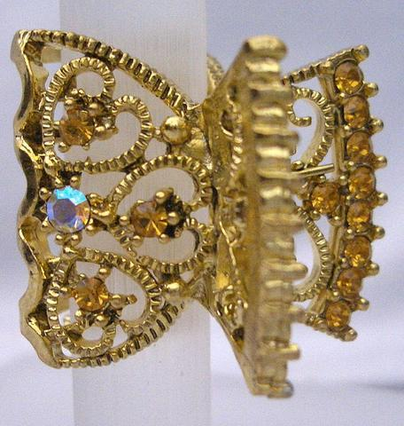 Primary image for Gold Plated Hair Accessories Topaz Crystal Hair Claw Clamp Clip