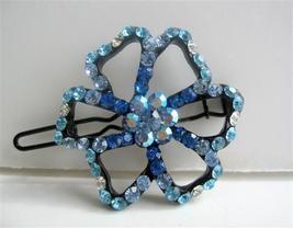 Aquamarine Flower Crystals Hair Barrette Pair Clip - $13.38