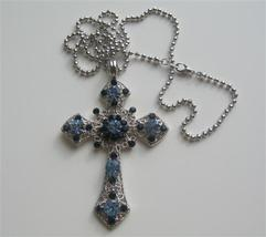 Saphire & Aquamarine Cross Pendant Embedded Rhinestones Shades of Blue - $17.28