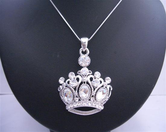 Flashy Crown Pendant Necklace w/ Crystals Cubic Zircon Rhinestones
